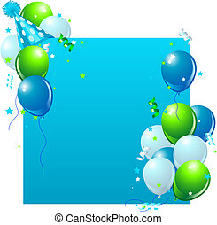 Blue Birthday card - Blue birthday card with balloons, hat ...
