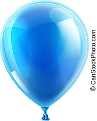 Blue birthday or party balloon - An illustration of an...