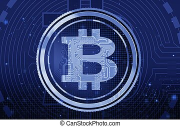 Blue Bitcoin Background - Blue Abstract Bitcoin...