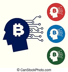 Blue Bitcoin think icon on white background. Cryptocurrency head. Blockchain technology, bitcoin, digital money market, cryptocoin wallet. Set color icon in circle buttons. Vector Illustration