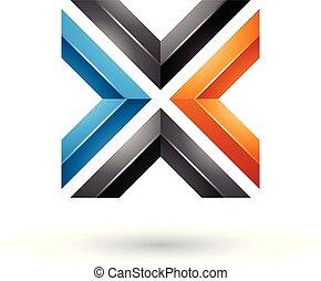 Blue Black and Orange Square Shaped Letter X Vector Illustration