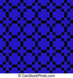 Blue & Black Crosses, Squares & Rectangles Seamless Pattern
