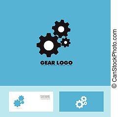 Blue black gear logo concept