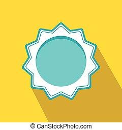 Blue blank award rosette icon, flat style