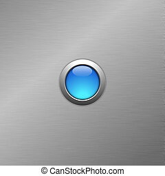 blue blank button on metal surface with copyspace