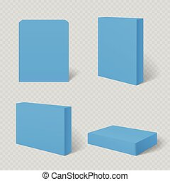Blue blank cardboard package box vector template