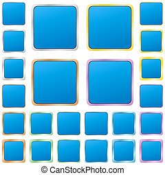 Blue blank square metal button set