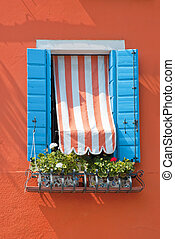 Blue Blended Window On Orange Wall