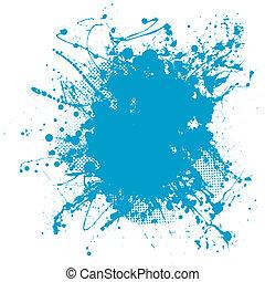 blue blob - Grunge ink splat background blob with halftone...