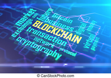Blue blockchain background - Abstract digital blockchain...