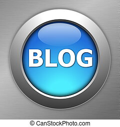 blue blog button - blue blog internet computre button on...