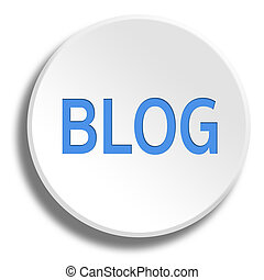 Blue blog in round white button with shadow