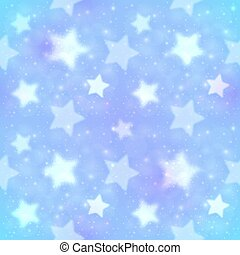 Blue blurred stars abstract seamless pattern