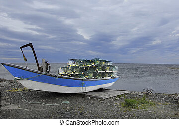 Blue Boat and Lobster Traps
