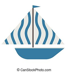 Blue boat flat illustration