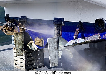 blue boat hull cleaning pressure washer barnacles...