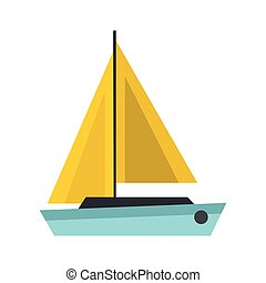 Blue boat icon, flat style