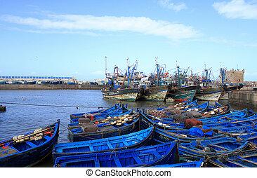blue boat in morocco