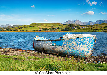 Blue Boat on the Shores of Loch Harport