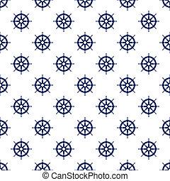 Blue Boat's Wheel , Seamless Pattern