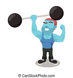 blue body builder lifting giant dumbbell with one hand