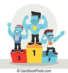 blue body builder winner illustration design