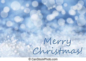 Blue Bokeh Background, Snow, Text Merry Christmas