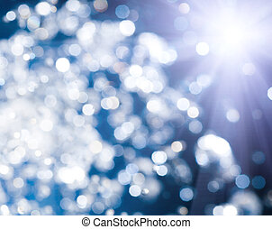 Blue Bokeh background with star backlit