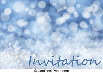Blue Bokeh Christmas Background, Snow, Text Invitation