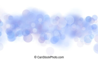 Blue Bokeh Circles Flying in Seamless Background Animation on White. Looped Blue Blurred Blinking Particles. 4k Ultra HD 3840x2160