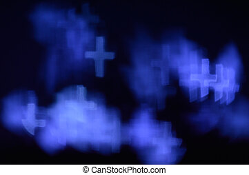 Blue bokeh cross lights - Bokeh or defocused image of lights...