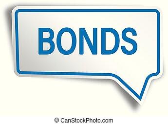 blue bonds modern speech bubble tag web icon