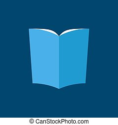 Blue book icon in flat style