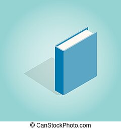 Blue book icon, isometric 3d style