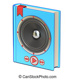 Blue book with speaker and buttons Audio book concept 3D