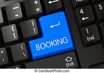 Blue Booking Keypad on Keyboard. 3D.