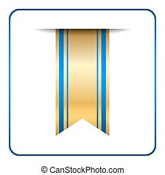 Blue bookmark banner gold
