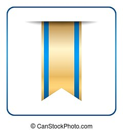 Blue bookmark banner gold tag