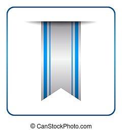 Blue bookmark banner symbol