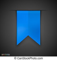 Blue bookmarks isolated on dark background