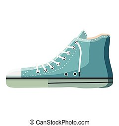 Blue boot icon, cartoon style