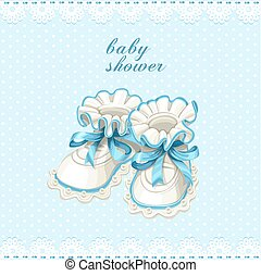 Blue booties baby shower card