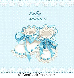 Blue booties for newborn baby shower card