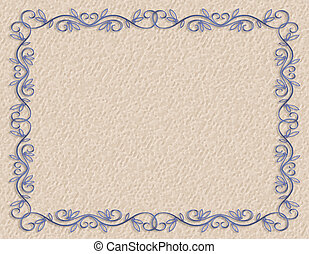 3D Illustrated blue design element for Valentine or wedding background, border or frame with copy space.
