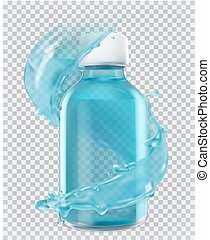 Blue bottle and water splash. 3d realism, vector icon
