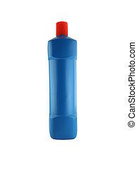 blue bottle isolated on white background.