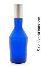 Blue bottle isolated on white background