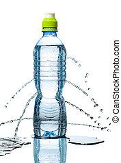 bottle of water leaking - Blue bottle of water leaking. ...