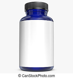 Blue bottle on white background.3D Rendering