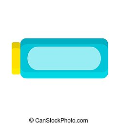 Blue bottle with shampoo in flat style on white, stock vector illustration